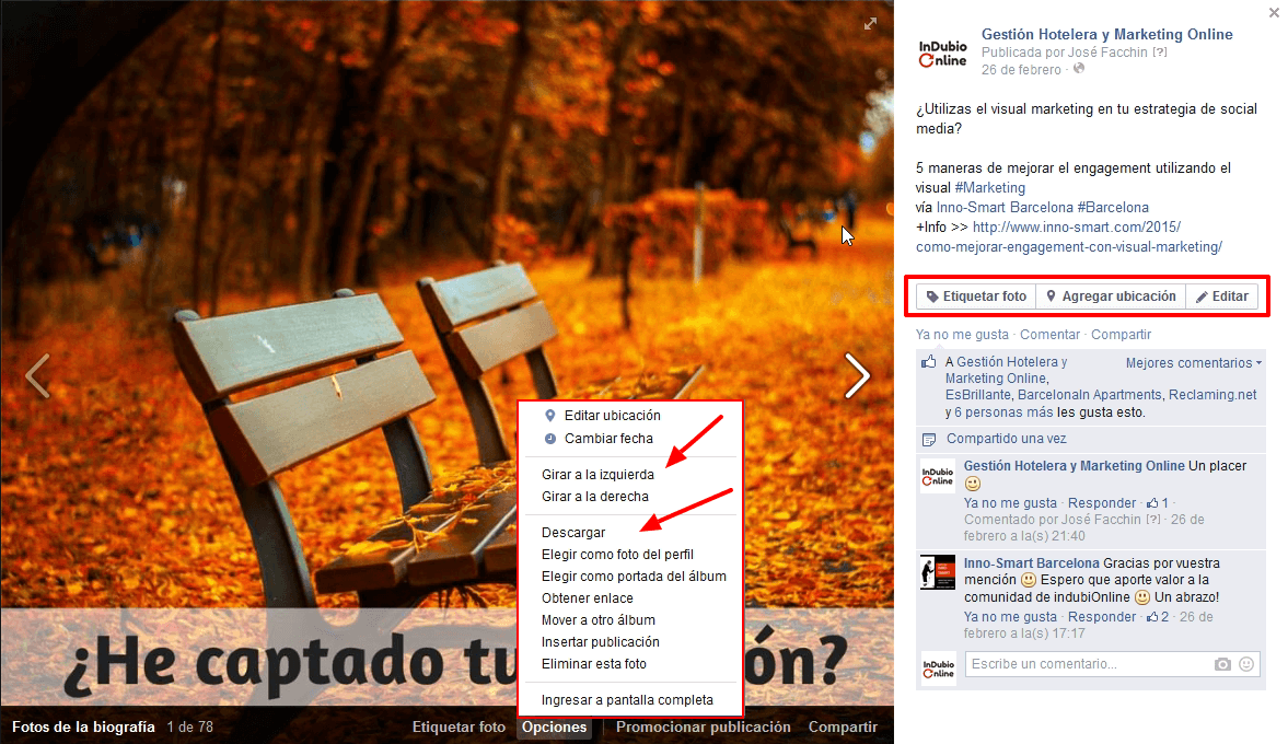 Modificar fotos de Facebook