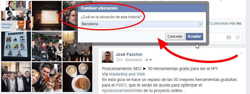Modificar la ubicación de un post de Facebook