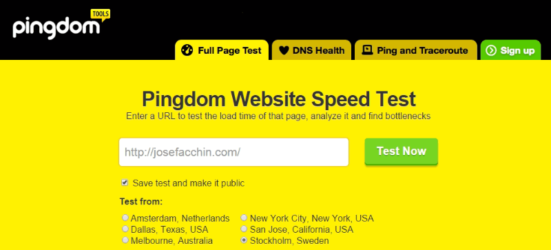 Pingdom Website Speed Test - Medir la velocidad de carga web
