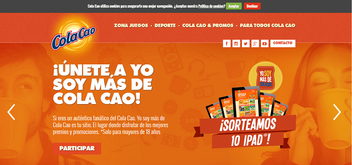 Real examples of CTA - Cola Cao