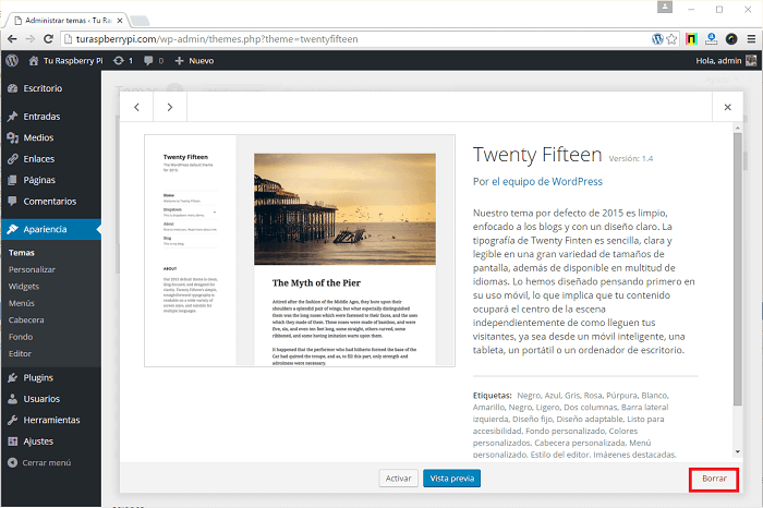 Borrar los theme o plantillas en wordpress