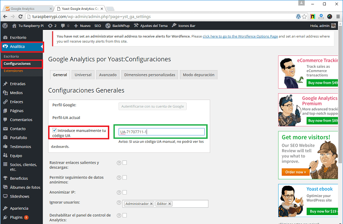 Implementar Google Analytics en un blog con Analytics by Yoast