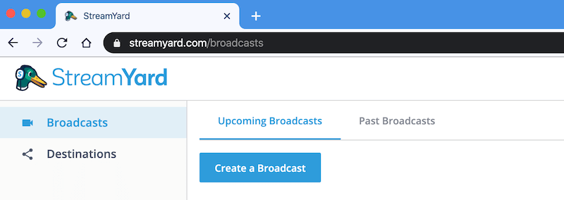 Create a Broadcast en StreamYard