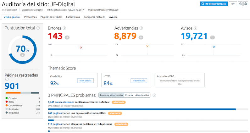 Site Audit en SEMrush