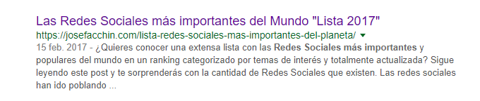 Snippet que muestra Google