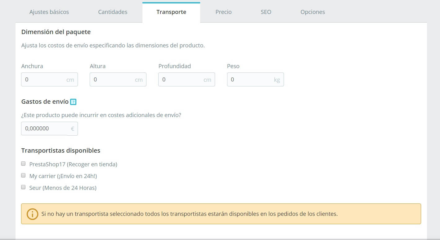 Producto - transporte