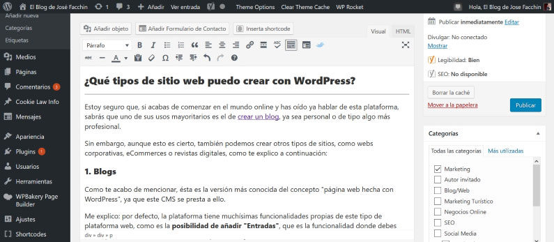 Backend de mi blog en WordPress
