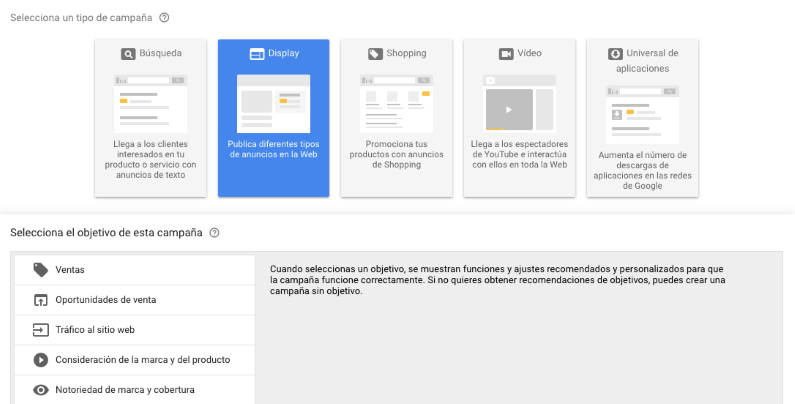 Crear campaña display adwords