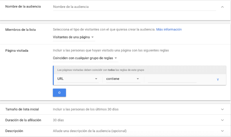 Crear lista remarketing en Adwords