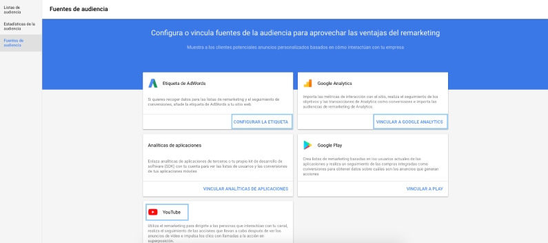Etiqueta de remarketing (Adwords, Analytics y YouTube)