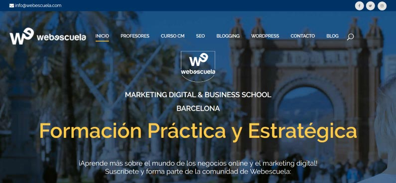 "Example of WordPress: Web of the training school ""Webescuela"""