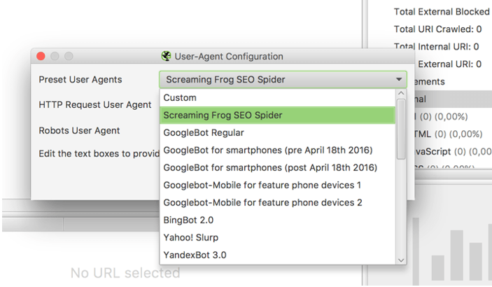 User-agent en SEO Spider