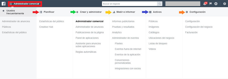 Barra mágica de Facebook Business Manager