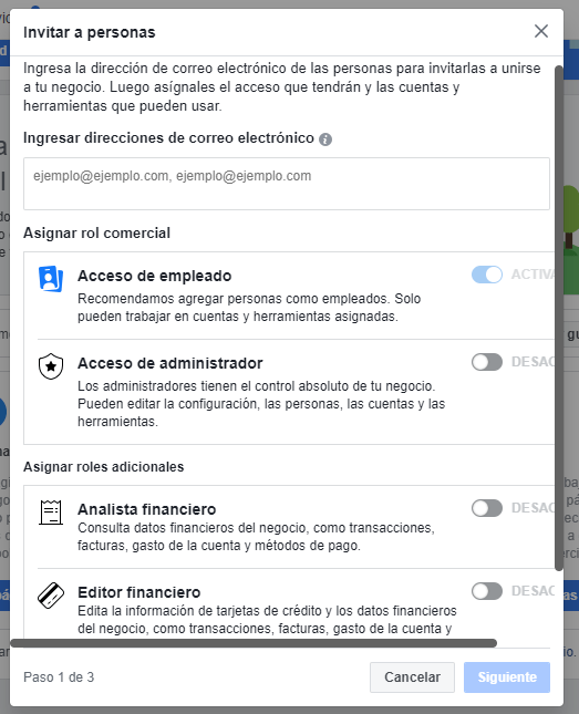 Invitar a personas a Facebook Business Manager