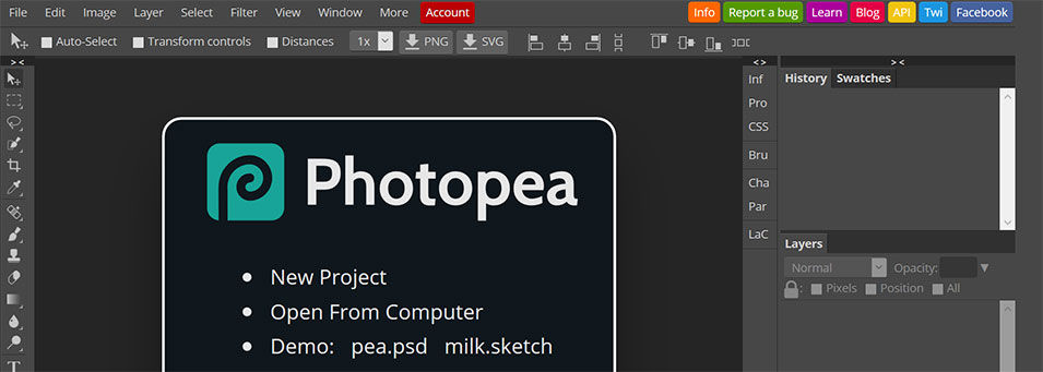 Photopea, programa similar a Photoshop Online