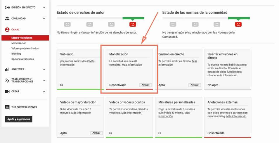 Activar monetización en YouTube