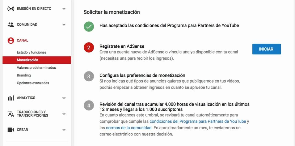 Pasos para solicitar la monetización en YouTube