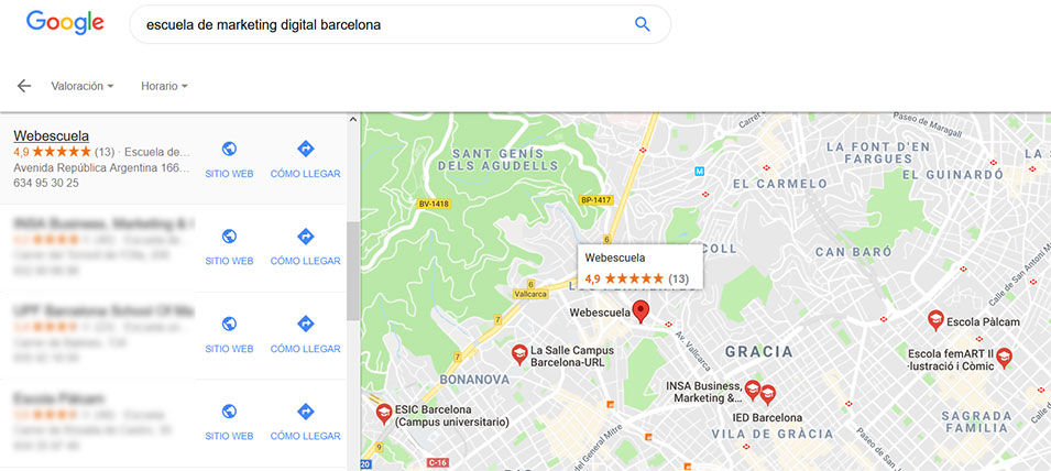 Ejemplo de Google My Business: Webescuela