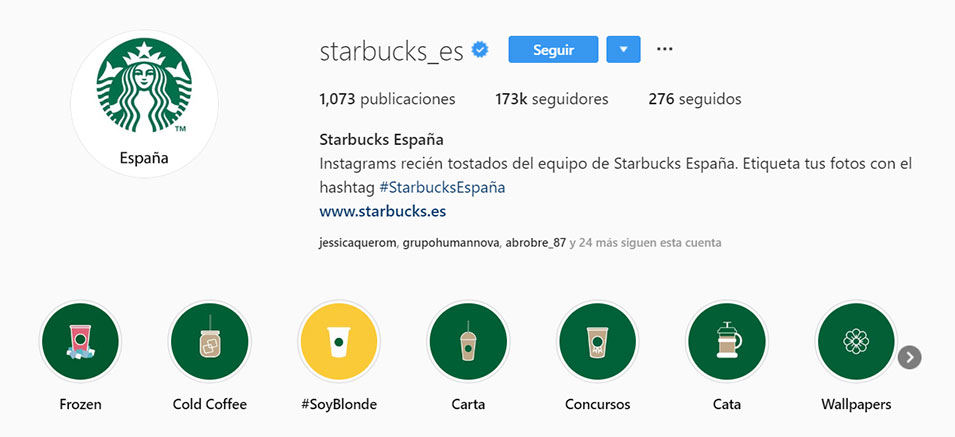 Instagram de Starbucks