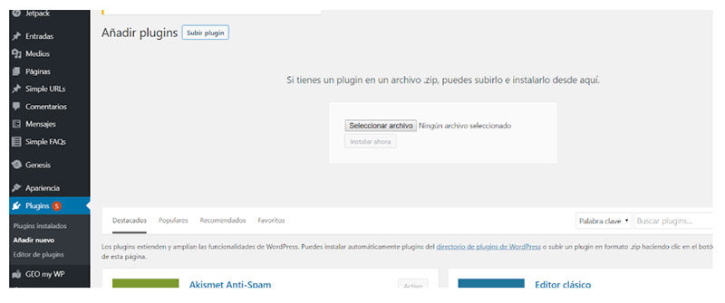 Sube al plugin a tu Web en WordPress