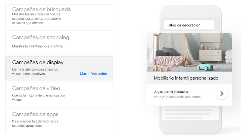 Campañas de la red de display en Google Ads